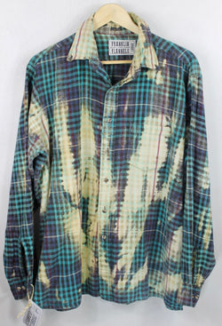 Vintage Turquoise, Black and Light Yellow Flannel Size Large
