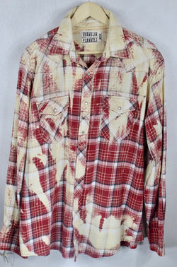 Vintage Red, Black & Cream Western Style Flannel Size Large