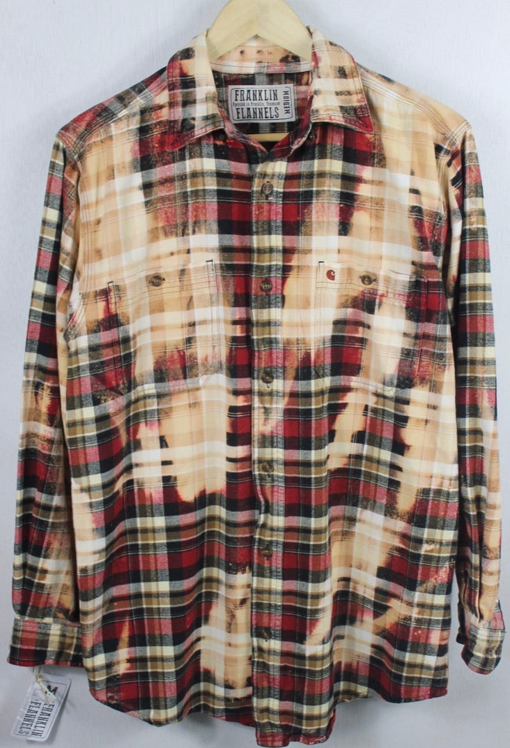 Vintage Red, Black and Peach Flannel Size Medium