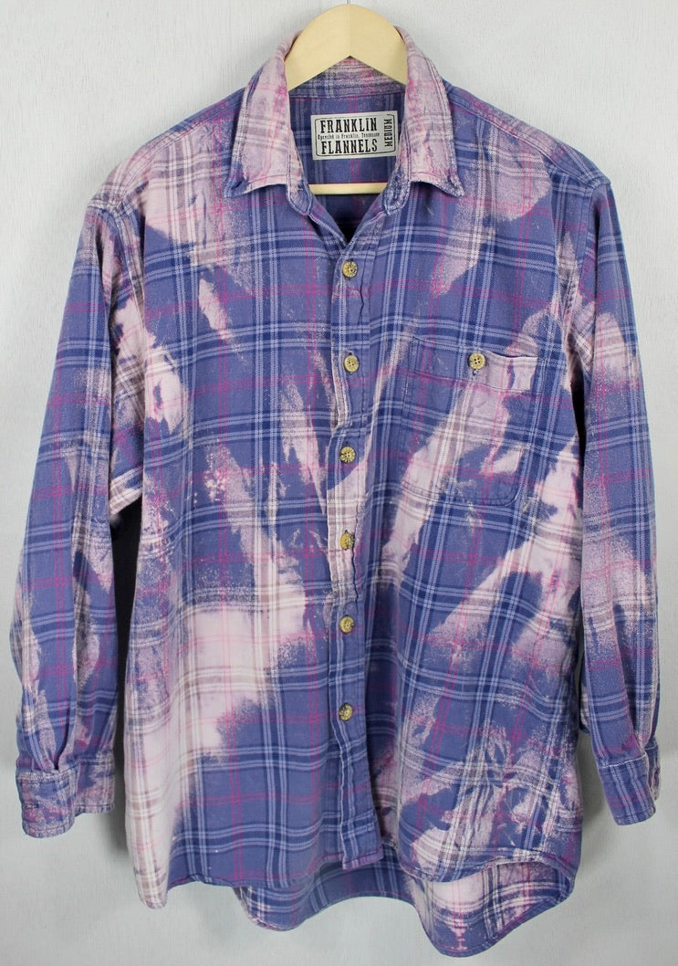 Vintage Periwinkle Blue and Lavender Flannel Size Medium