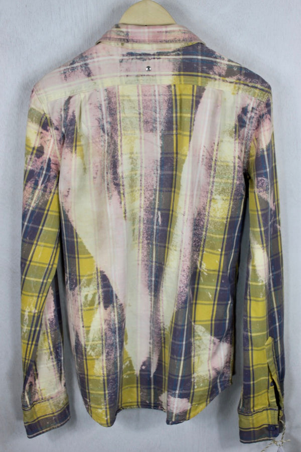 Vintage Faded Purple, Pink, and Yellow Flannel Size Small
