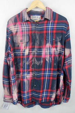 Vintage Navy Blue, Red, Pink and Black Flannel Size Large