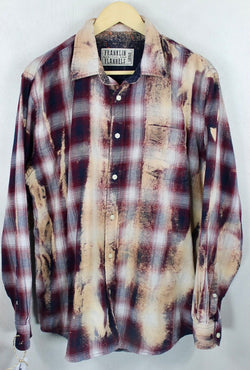 Vintage Burgundy, Navy Blue and Cream Flannel Size Large