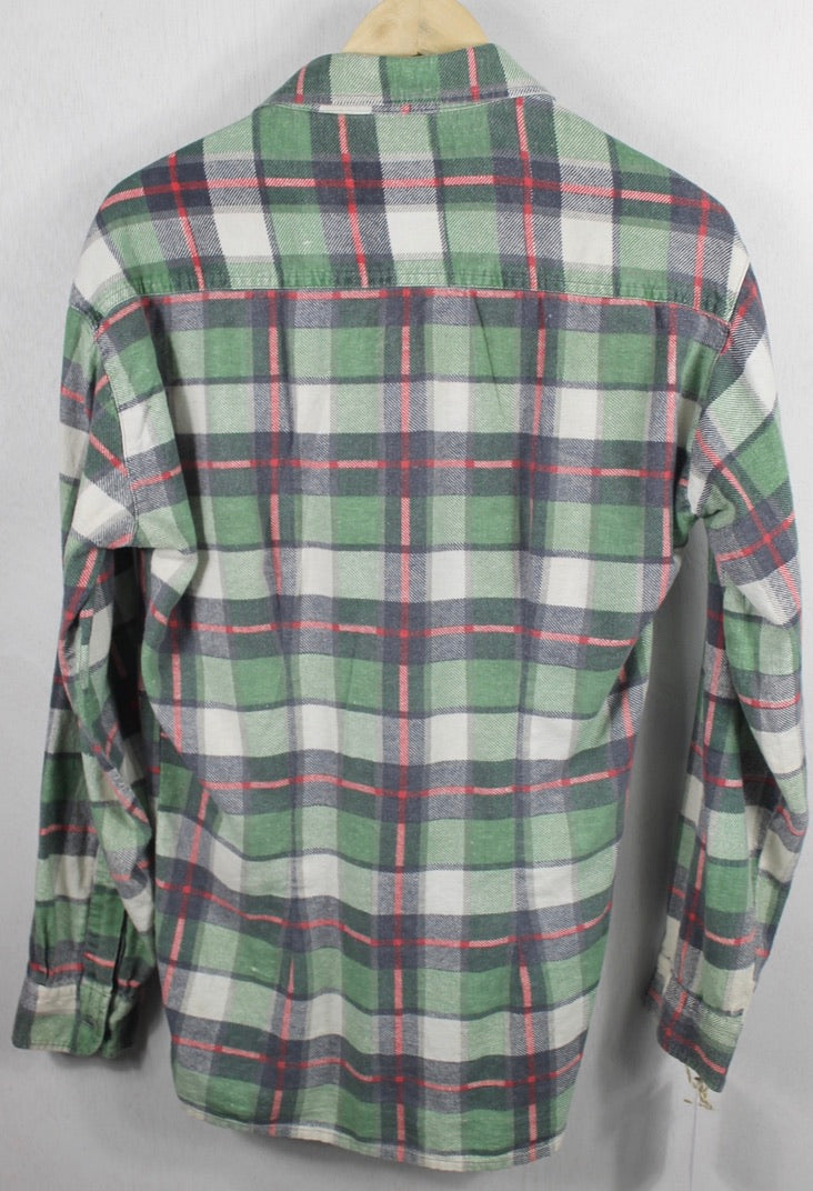 Vintage Retro Green, Red and White Flannel Size Large