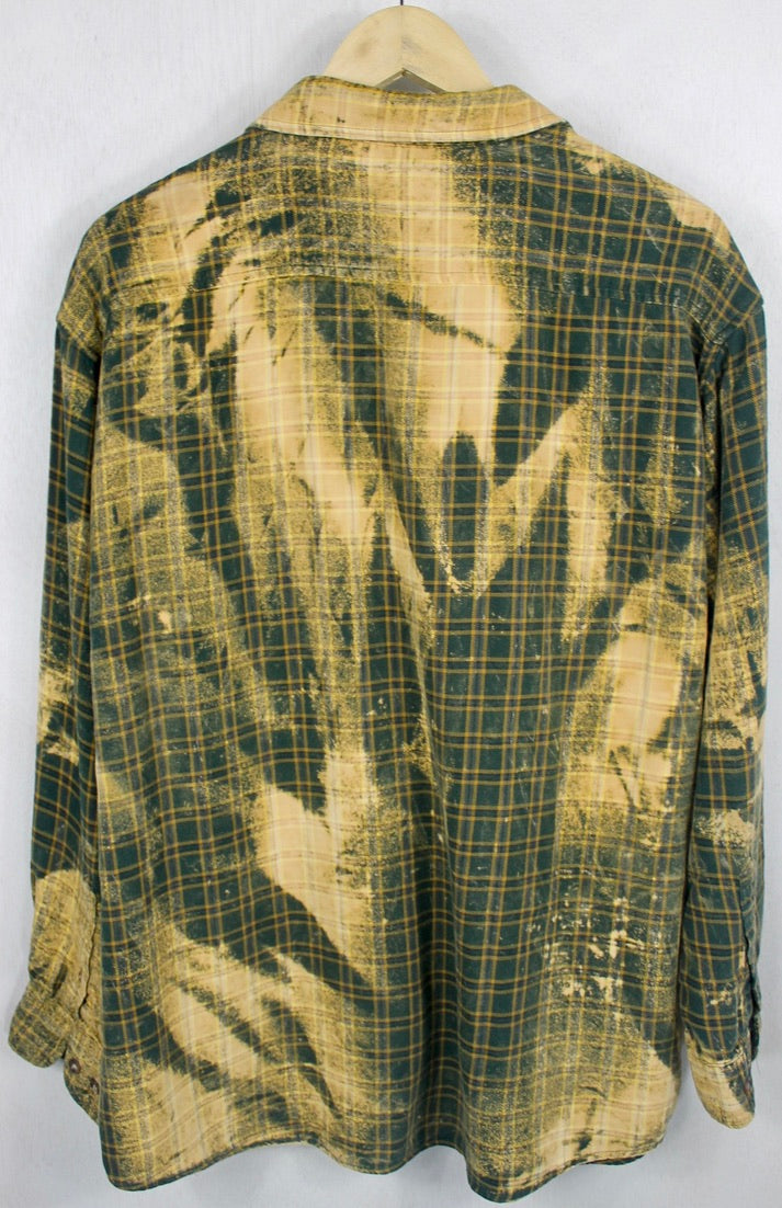 Vintage Forest Green and Gold Grunge Flannel Size Large