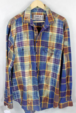 Vintage Royal Blue, Purple and Rust Flannel Size XL