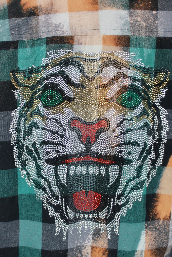 Vintage Black, Emerald Green and Gold Flannel with Bling Tiger Size Small