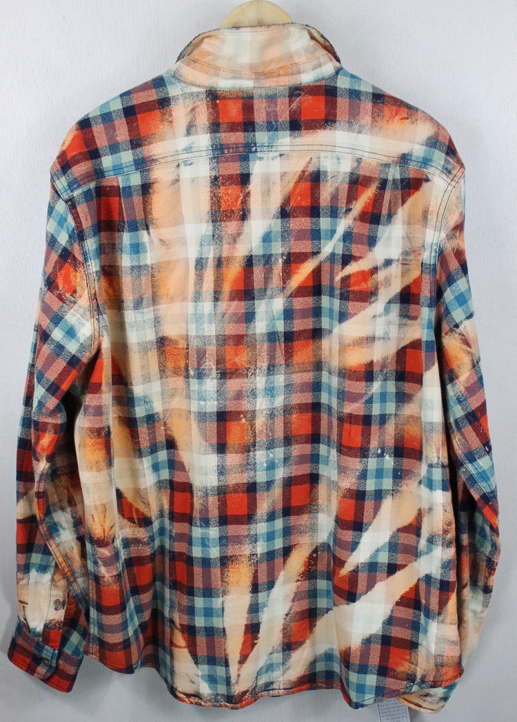 Vintage Orange, Light Blue and Coral Flannel Size XL