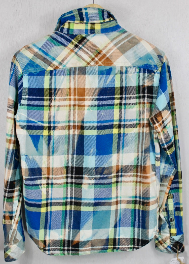 Vintage Turquoise, Royal Blue, Yellow and White Flannel Size Small