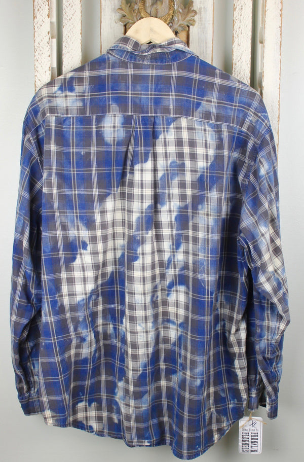 Vintage Blue and Dove Grey Flannel Size XL