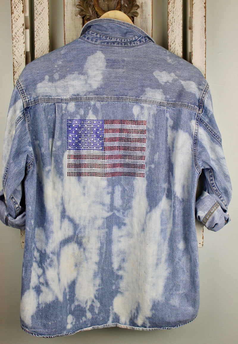 Fanciful Faded Denim with American Flag Size Medium