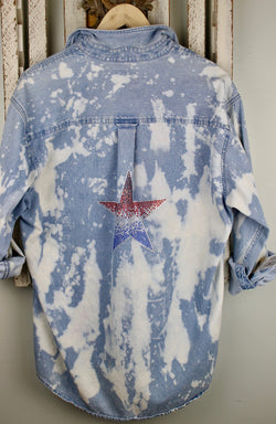 Fanciful Franklin  Washed Denim with Patriotic Star Size Large