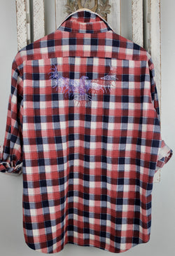 Fanciful Franklin Flannels with Patriotic Eagle Size Medium