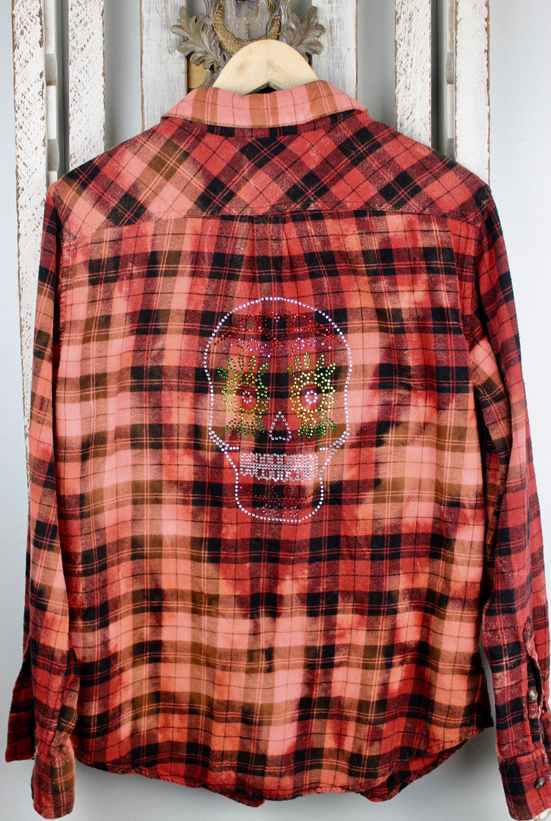 Fanciful Black, Red, Orange Flannel with Skull Size Small