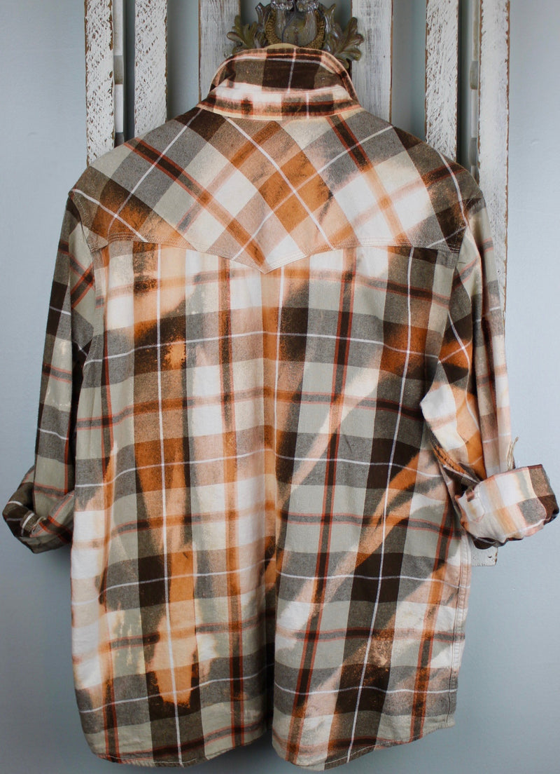Vintage Brown, Orange, White Western Cut Flannel Size Medium