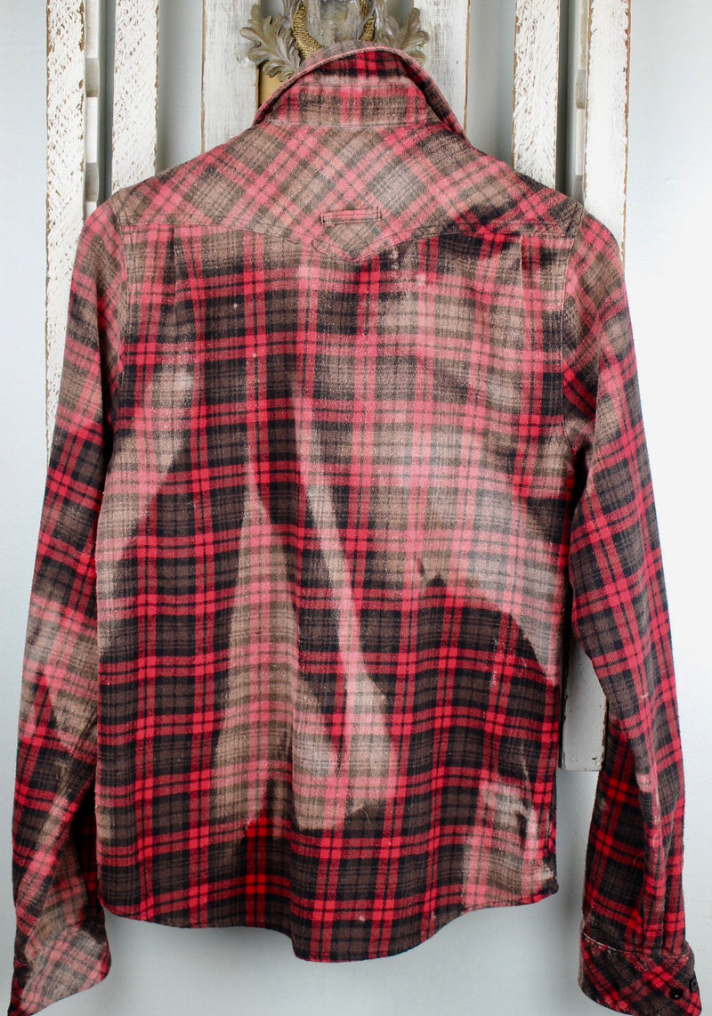 Vintage Red, Brown, and Black Flannel with Suede Size Small