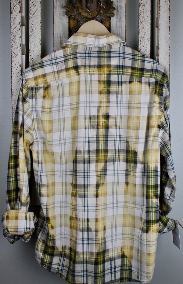 Vintage Pale Yellow, Green and White Flannel with Suede Size Medium