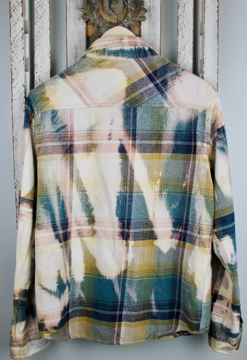 Vintage Western Style Forest Green, Cream and Pink Flannel Size Small