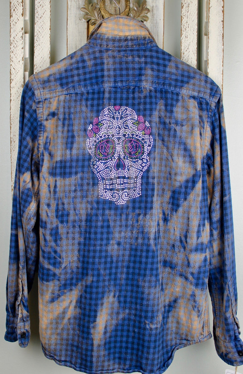 Fanciful Blue, Black and Rust Flannel with Sugar Skull Size Small