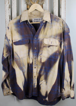 Vintage Eggplant, Blue, Cream Flannel Size Large