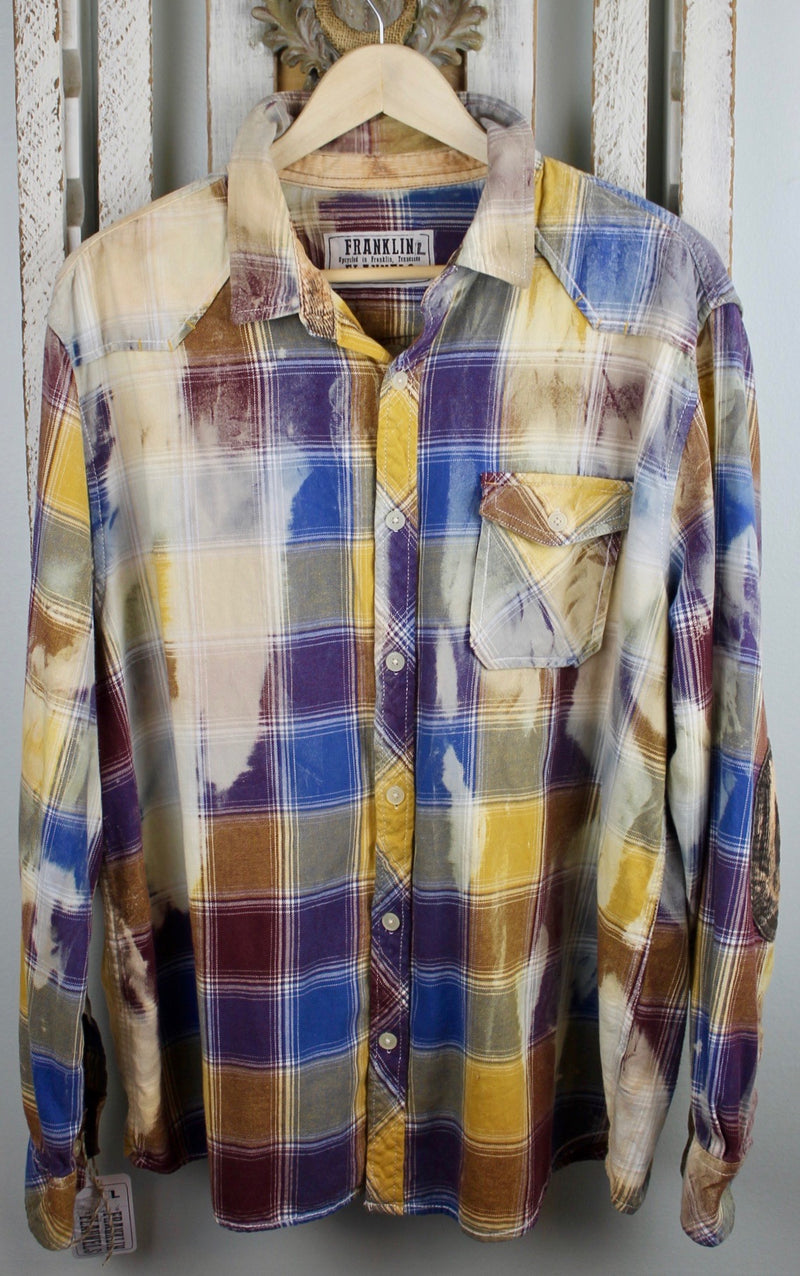 Vintage Blue, Gold, and Cream Flannel Size Large