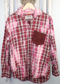 Vintage Pink, Red, and White Flannel with Suede Size Large