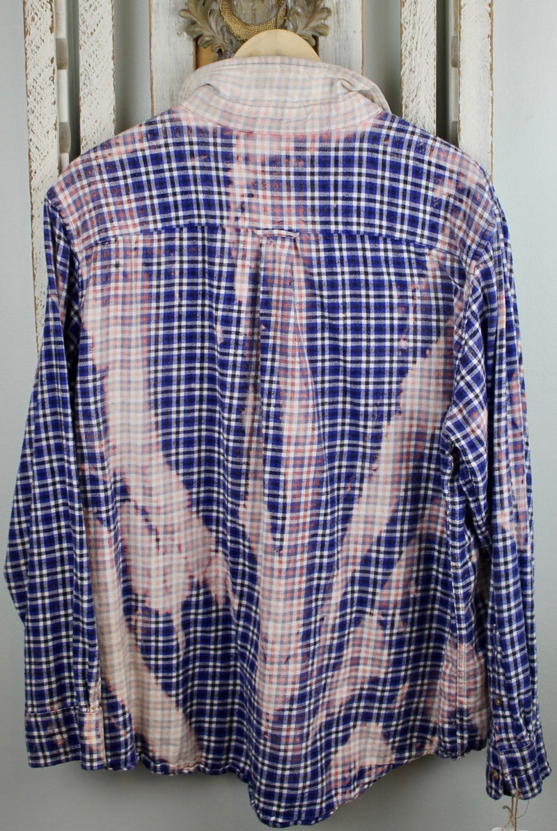 Vintage Blue, Pink, and White Flannel With Suede Size Large