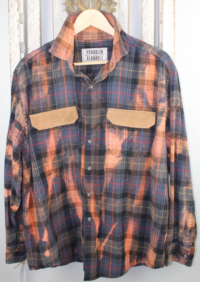 Vintage Rust, Grey Blue, and Black Flannel with Suede Size Medium