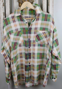 Vintage Green, Rust, and White Flannel Size Medium