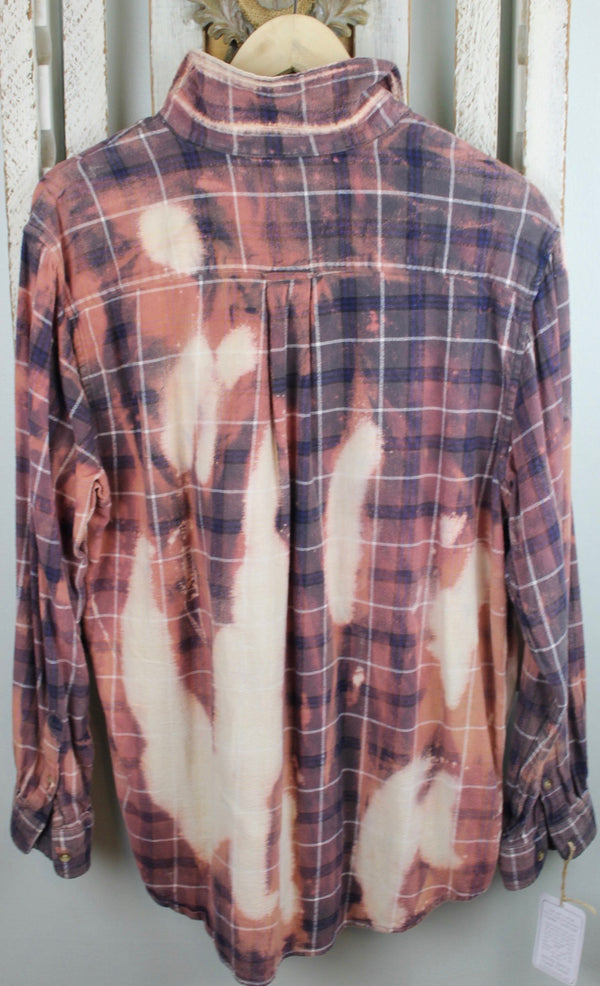 Vintage Dusty Rose, Navy, and Cream Flannel with Suede Size Medium
