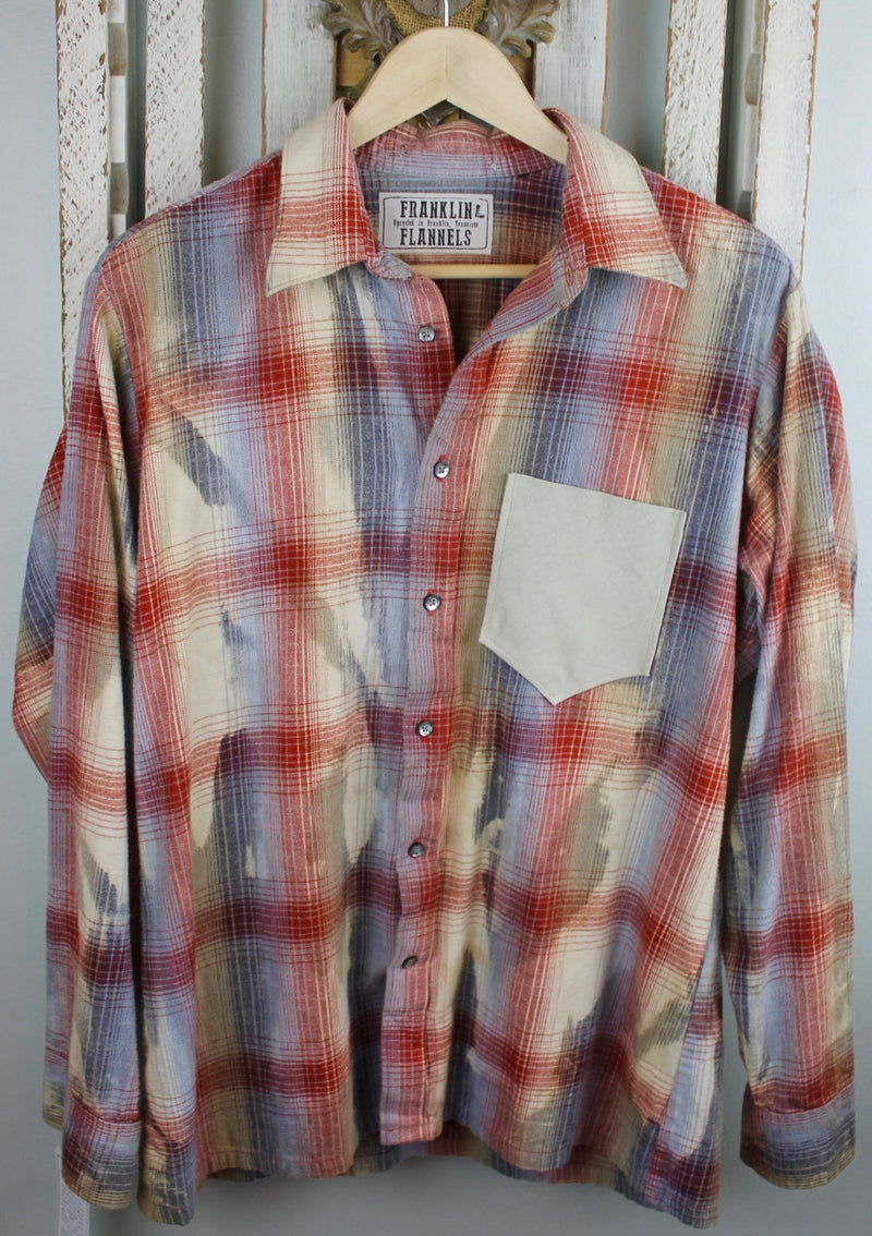 Vintage Red, Grey Blue, and Cream Flannel With Suede Size Large