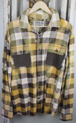Vintage Yellow, Grey, and White Flannel With Suede Size Large
