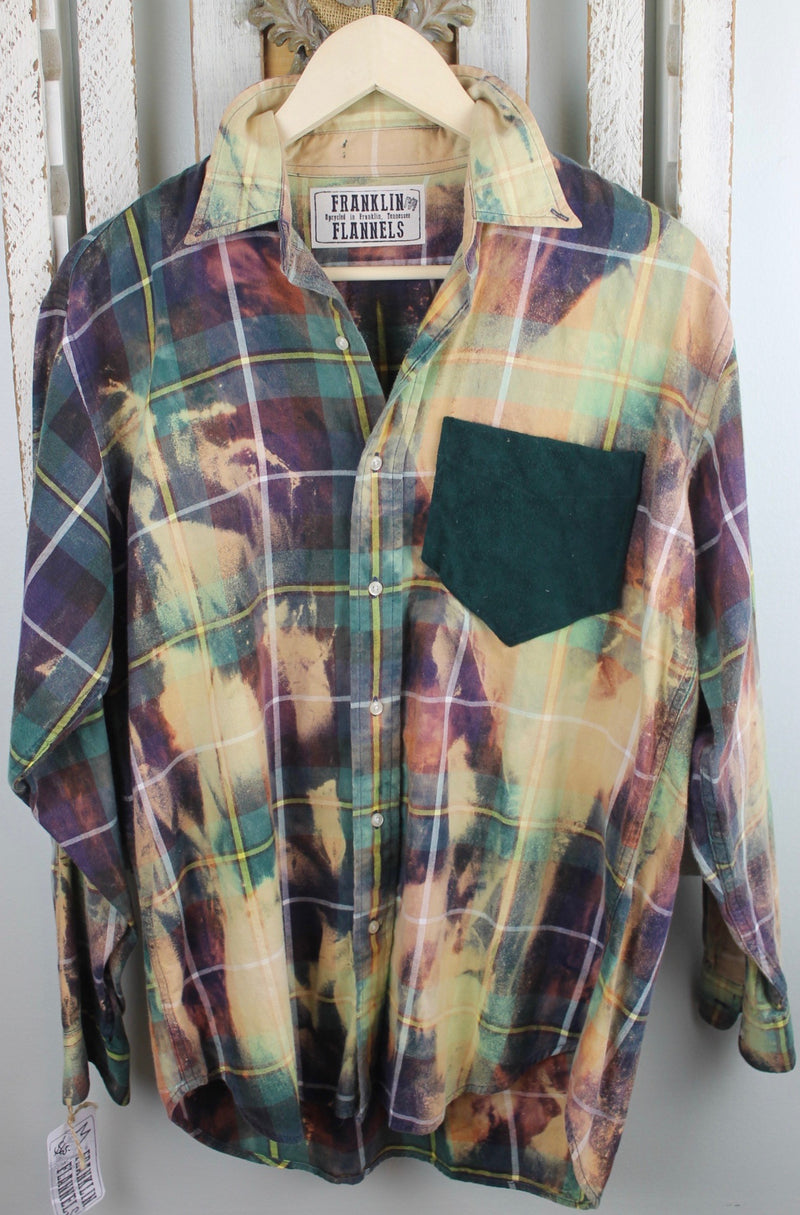 Vintage Purple, Green, Blue, and Cream Flannel With Suede Size Medium