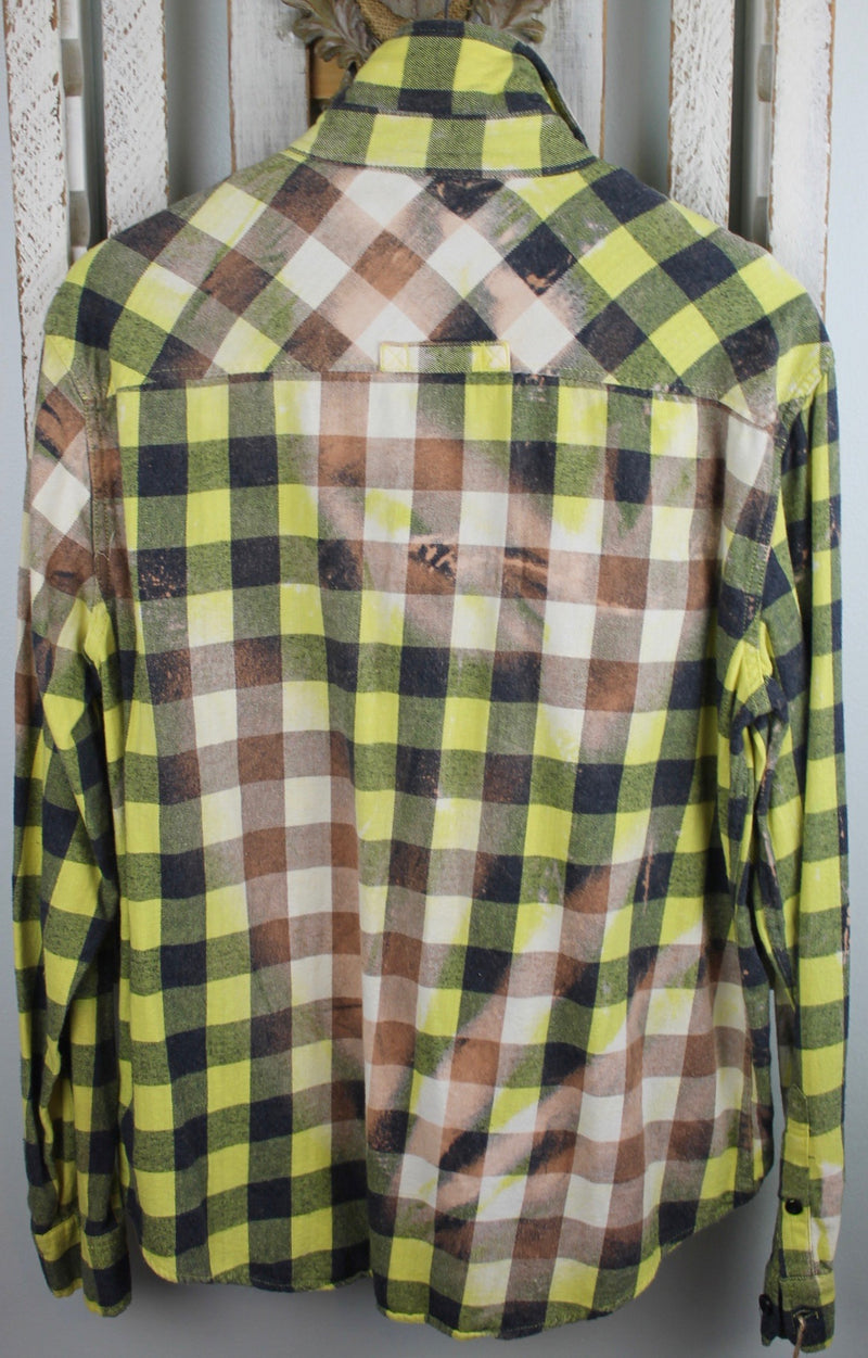 Vintage Yellow, Black, Grey, and White Flannel With Suede Size Large