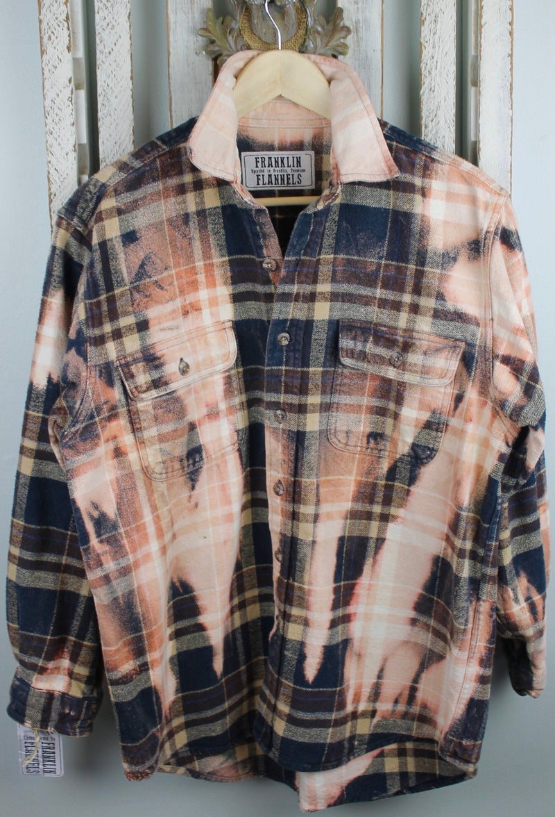Vintage Black, Brown and Peach Flannel Jacket Size Medium