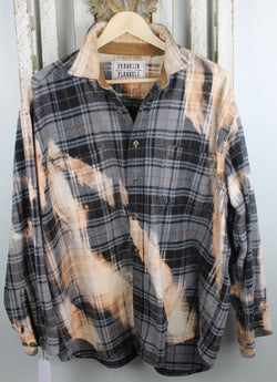 Vintage Black, Grey, Peach and Cream Flannel Jacket Size XXL