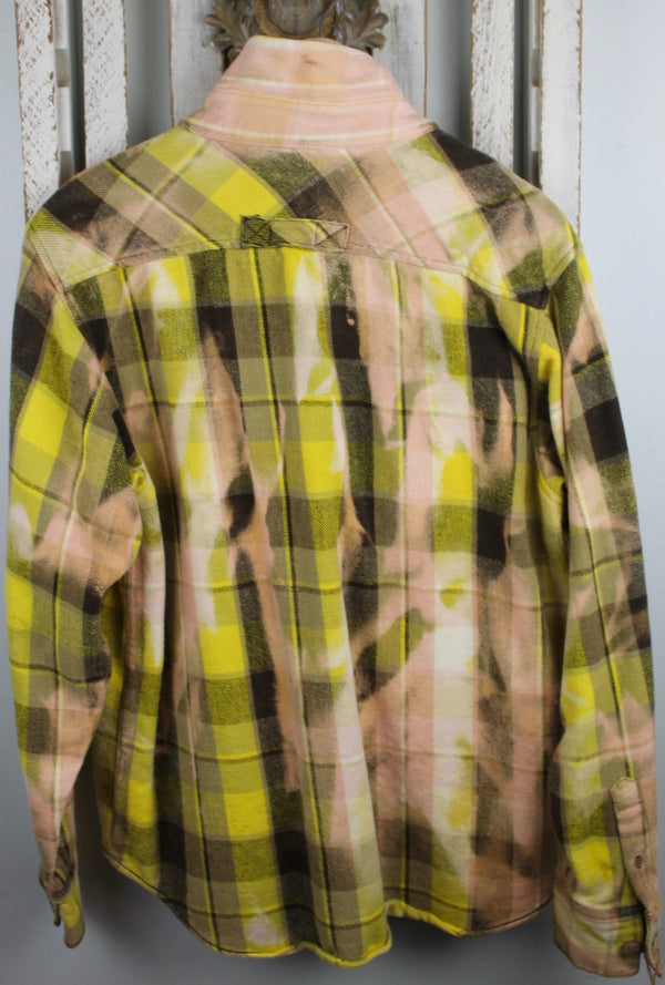 Vintage Brown, Yellow and Peach Flannel Jacket Size Large