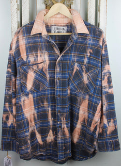Vintage Blue, Brown and Dusty Rose Flannel Jacket Size Large