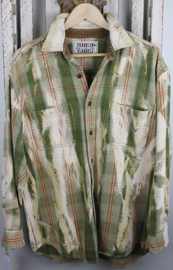 Vintage Sage Green and Cream Flannel Jacket Size Large