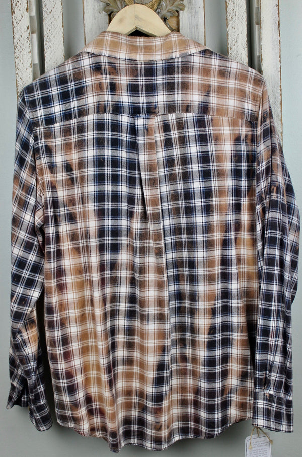 Black, Caramel and White Flannel with Caramel Suede Pocket Size Small