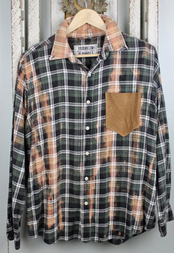 Army Green, Black and Caramel Flannel with Suede Pocket Size Small