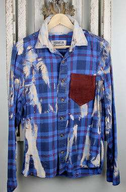 Royal blue, Cream and Burgundy Flannel with Suede Size Small