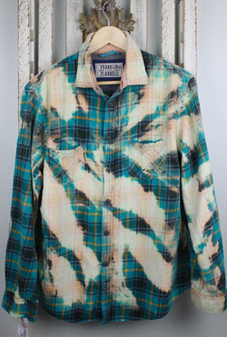 Vintage Turquoise, Cream and Peach Flannel Size Medium