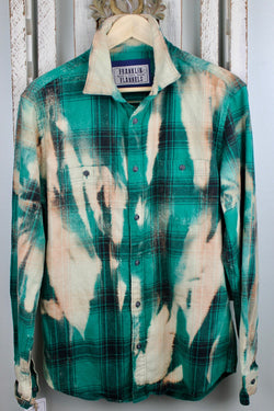 Vintage Bright Green, Peach and Cream Flannel Size Medium