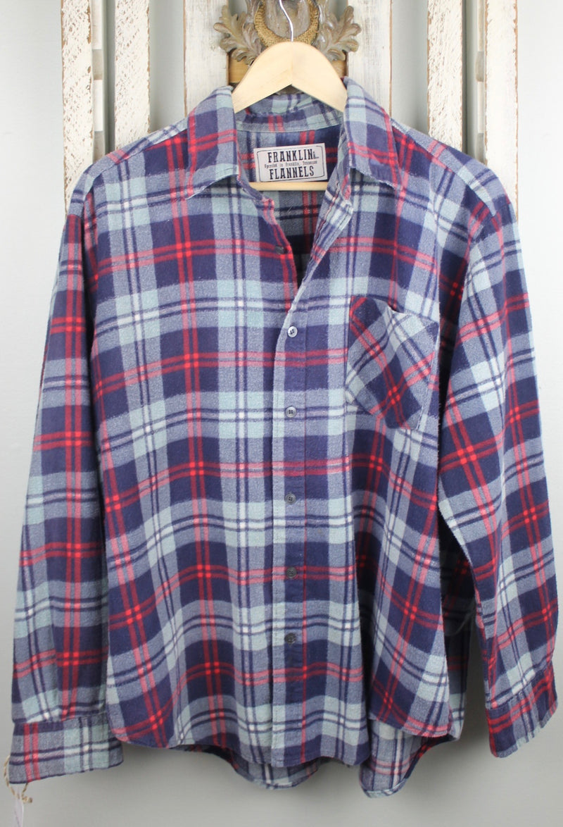 Vintage Retro Blue and Red Flannel Size Large