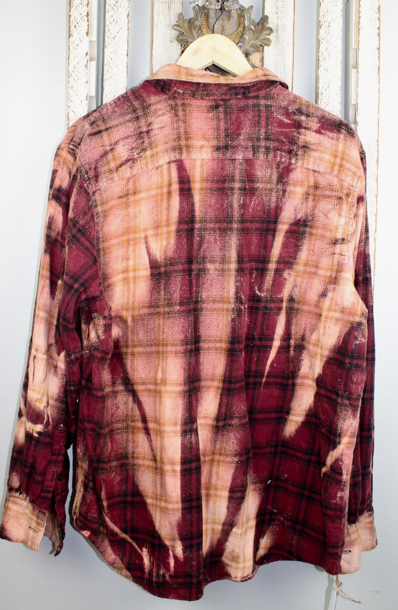 Vintage Burgundy, Black and Gold Flannel Size Large