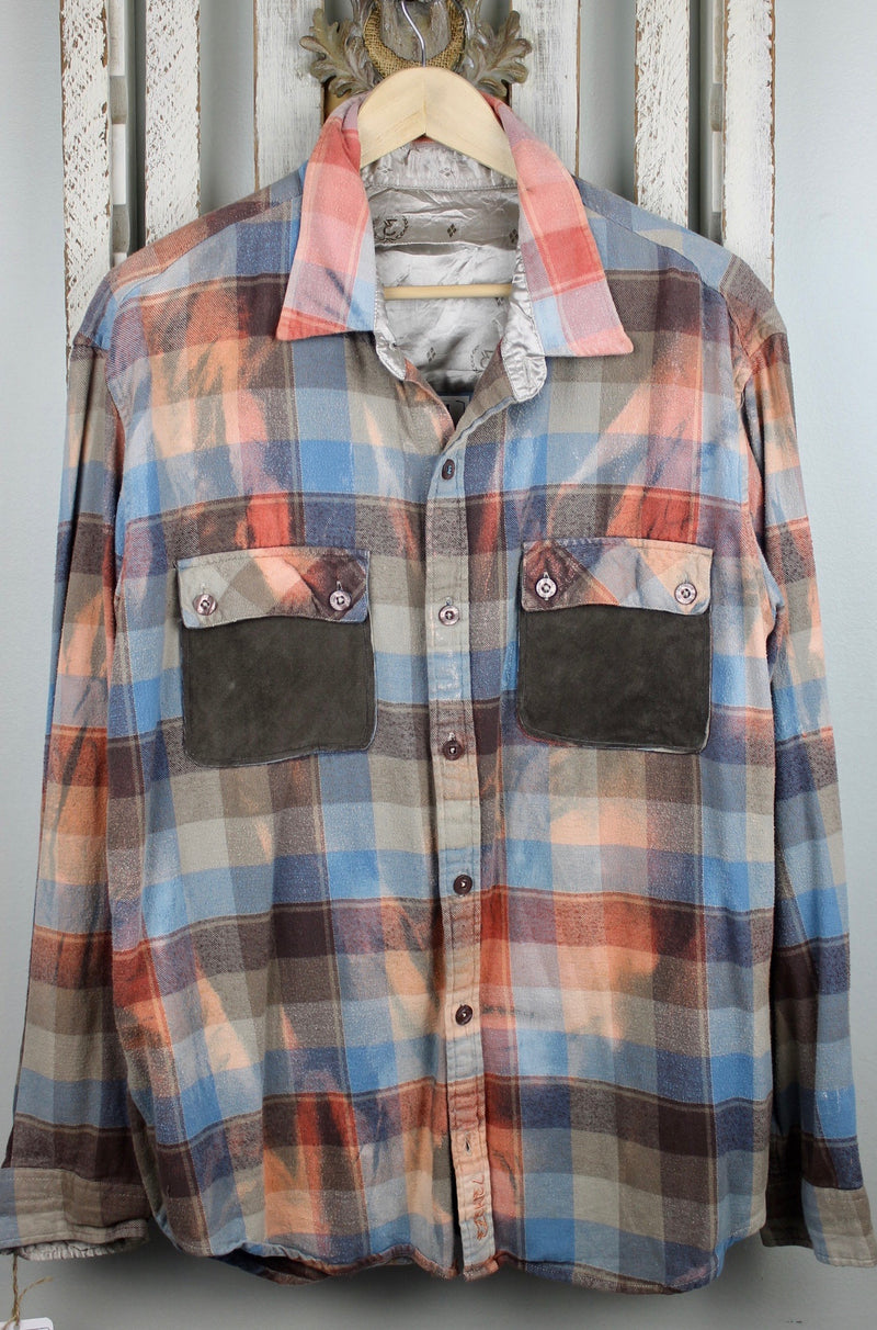 Teal Blue, Coral and Chocolate Brown Flannel with Suede Size Large