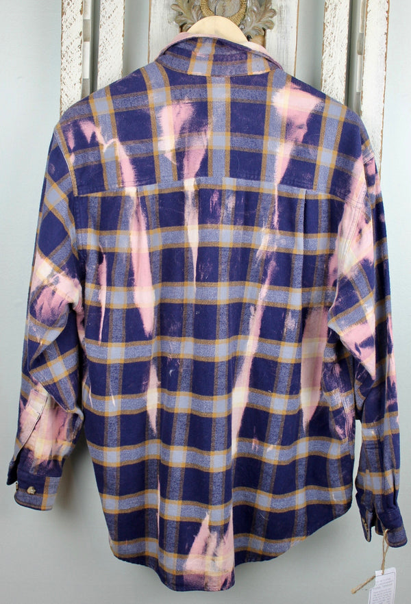 Vintage Navy Blue and Pink Flannel with Pink Suede Size Large