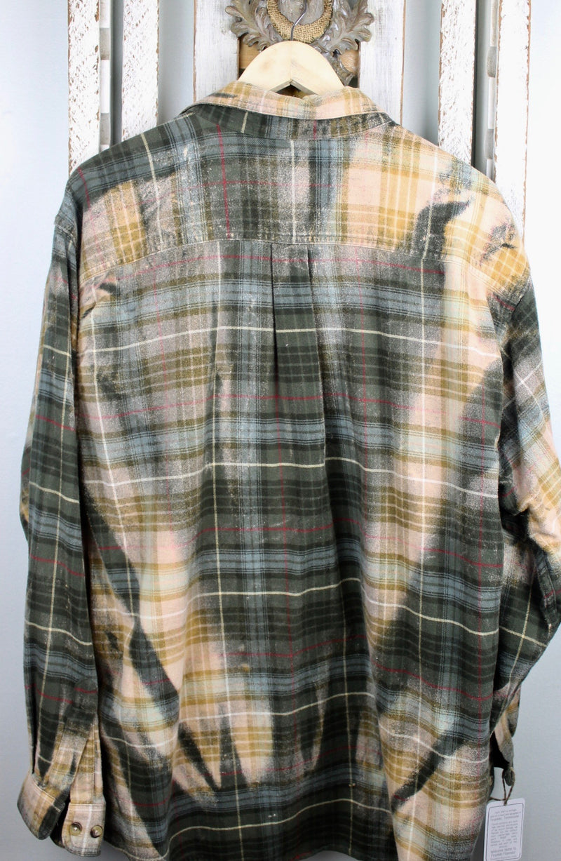 Vintage Army Green, Gold and Cream Flannel Size XL