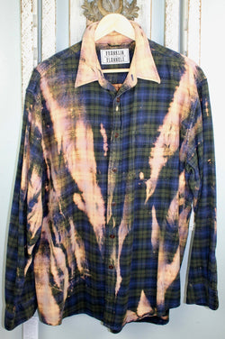 Vintage Navy Blue, Army Green and Gold Flannel Size XL